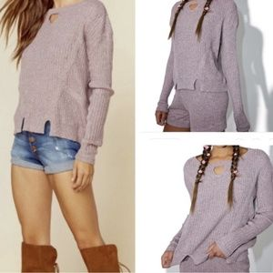 For Love And Lemons Knitz Lafayette Lilac Sweater